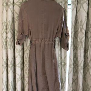 Wrap tan dress with draped collar